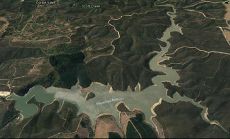Satellite view of Mount Bold Reservoir which supplies water to Metropolitan Adelaide via the Happy Valley water treatment plant