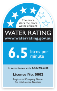 Blue water rating with four out of six-star rating showing 6.5 litres per minutes water consumption