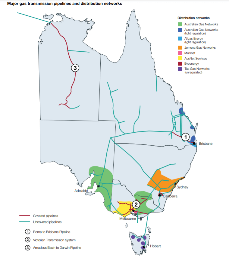 East Australian Gas Pipeline and Distribution Network showing network of covered and uncovered transmission pipelines that supply Adelaide Gas